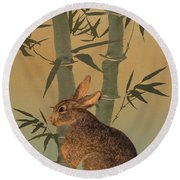 Hare Under Bamboo Tree Round Beach Towel