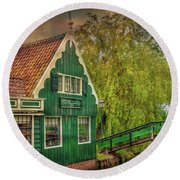 Round Beach Towel featuring the photograph Haremakerij At The Brook by Hanny Heim