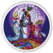 Hari Hara Krishna Vishnu Round Beach Towel