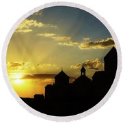 Harichavank Monastery At Sunset, Armenia Round Beach Towel by Gurgen Bakhshetsyan