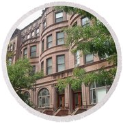 Harlem Brownstones Round Beach Towel
