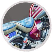 Round Beach Towel featuring the photograph Harley by Charuhas Images