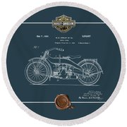 Round Beach Towel featuring the digital art Harley-davidson 1924 Vintage Patent Blueprint  by Serge Averbukh