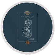 Round Beach Towel featuring the digital art Harley-davidson 1924 Vintage Patent Blueprint With 3d Badge by Serge Averbukh