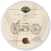 Round Beach Towel featuring the digital art Harley-davidson 1924 Vintage Patent Document  by Serge Averbukh