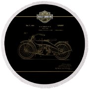 Round Beach Towel featuring the digital art Harley-davidson 1924 Vintage Patent In Gold On Black by Serge Averbukh