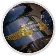 Round Beach Towel featuring the photograph Harley Davidson Badge by Samuel M Purvis III