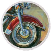 Round Beach Towel featuring the painting Harley-davidson Heritage Softail by Lesley Spanos