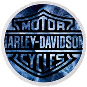 Harley Davidson Logo Blue Round Beach Towel by Randy Steele