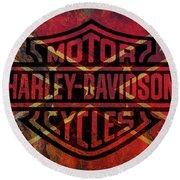 Harley Davidson Logo Confederate Flag Round Beach Towel