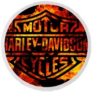 Harley Davidson Logo Flames Round Beach Towel by Randy Steele