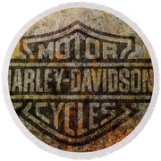 Harley Davidson Logo Grunge Metal Round Beach Towel by Randy Steele