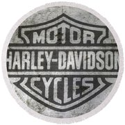Harley Davidson Logo On Metal Round Beach Towel by Randy Steele