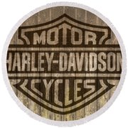 Harley Davidson Logo On Wood Round Beach Towel by Randy Steele