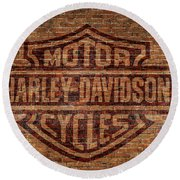 Harley Davidson Logo Red Brick Wall Round Beach Towel by Randy Steele