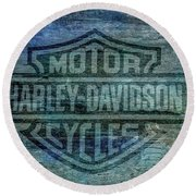 Harley Davidson Logo Weathered Wood Round Beach Towel by Randy Steele