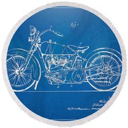 Harley-davidson Motorcycle 1928 Patent Artwork Round Beach Towel by Nikki Marie Smith