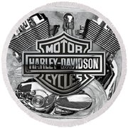 Round Beach Towel featuring the digital art Harley-davidson Motorcycle Engine Detail With 3d Badge  by Serge Averbukh
