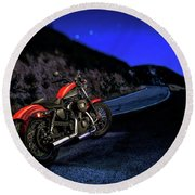 Round Beach Towel featuring the photograph Harley Davidson Nightster by YoPedro