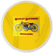 Harley - Davidson  Poster Round Beach Towel by Pg Reproductions