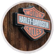 Round Beach Towel featuring the photograph Harley Davidson Sign In West Jordan Utah Photograph by Colleen Cornelius