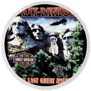 Round Beach Towel featuring the digital art Harley Davidson The Last Great American by Gina Dsgn