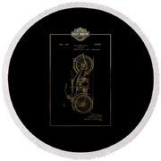 Round Beach Towel featuring the digital art Harley-davidson Vintage 1924 Patent In Gold With 3d Badge On Black by Serge Averbukh
