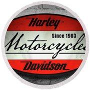 Harley Davidson Vintage Shop Sign  1903 Round Beach Towel