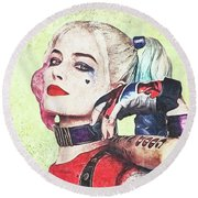 Harley Is A Crazy Woman Round Beach Towel