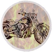 Round Beach Towel featuring the mixed media Harley Motorcycle On Flames by Dan Sproul