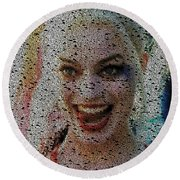 Round Beach Towel featuring the painting Harley Quinn Quotes Mosaic by Paul Van Scott