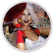 Round Beach Towel featuring the digital art It Wasn't Me by Shanina Conway