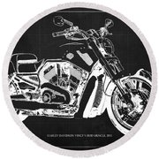 Harley V Rod Muscle Motorcycle, Dark Grey Blueprint, Original Gift For Bikers Round Beach Towel