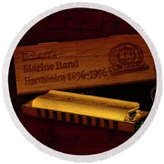 Harmonica 01 Round Beach Towel by Kevin Chippindall