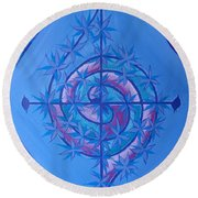 Harmonious Life Cross Round Beach Towel