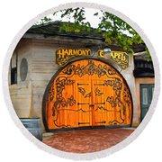 Round Beach Towel featuring the photograph Harmony Chapel Harmony California by Barbara Snyder