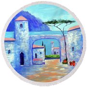 Round Beach Towel featuring the painting Harmony Of Como by Larry Cirigliano