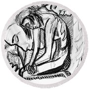 Harmony  Study For The Emancipation Of A Woman Round Beach Towel