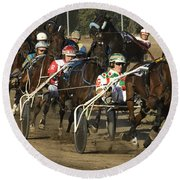 Harness Racing 9 Round Beach Towel by Bob Christopher