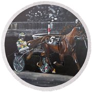 Harness Racing Round Beach Towel