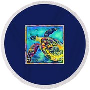 Harold The Turtle Round Beach Towel by Erika Swartzkopf