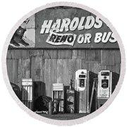Harold's Club Round Beach Towel by Marius Sipa