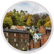 Round Beach Towel featuring the photograph Harpers Ferry In Autumn by Ed Clark