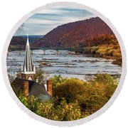 Harpers Ferry, West Virginia Round Beach Towel