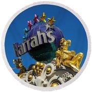 Harrah's Casino Sign On The Las Vegas Strip Round Beach Towel