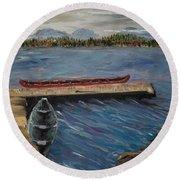 Round Beach Towel featuring the painting Harriet Hunt Lake, Ketchikan, Alaska by Judith Rhue