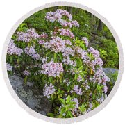 Harriman Pink And White Mountain Laurel Round Beach Towel