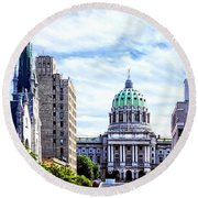 Harrisburg Pa - Capitol Building Seen From State Street Round Beach Towel