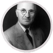 Round Beach Towel featuring the photograph Harry S Truman - President Of The United States Of America by International  Images
