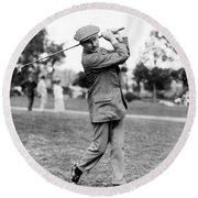 Round Beach Towel featuring the photograph Harry Vardon - Golfer by International  Images